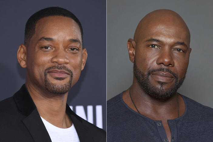 A side by side picture of Will Smith and director Antoine Fuqua.