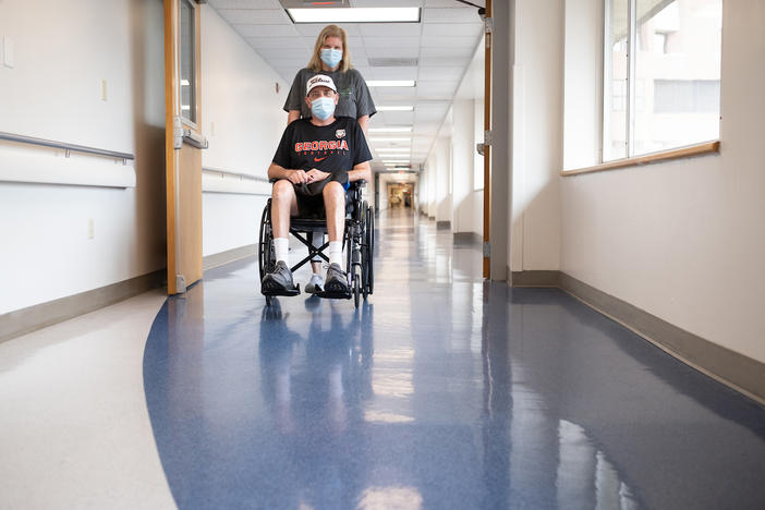 Man in wheelchair in hospital