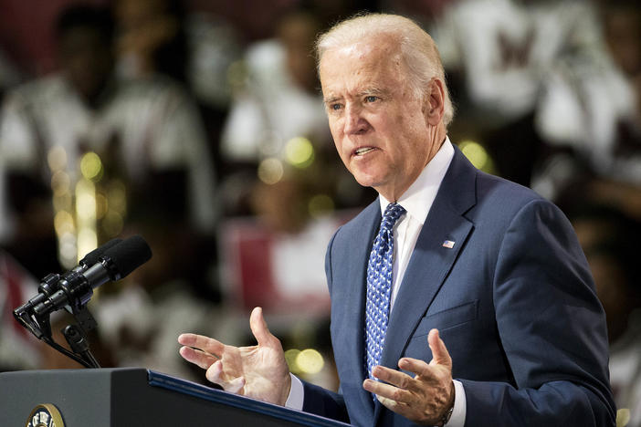 Joe Biden speaks to a group of Morehouse students in 2015.