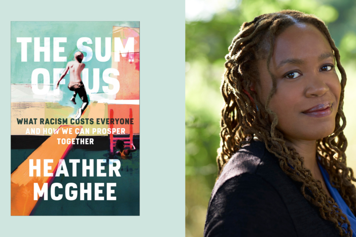 An illustration of author Heather McGhee and the cover of her book, The Sum Of Us.