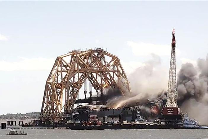 Golden Ray, Ship Stuck Off St. Simons Island, Engulfed In Flames