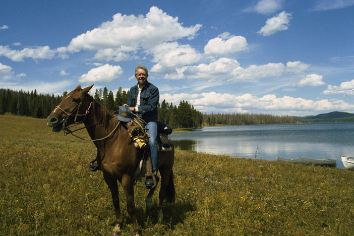 Jimmy Carter on horseback in Grand Teton National Park.