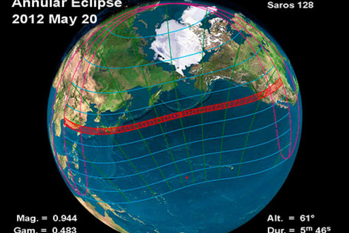 Map of the annular solar eclipse on Sunday, May 20, 2012.  Image courtesy of NASA