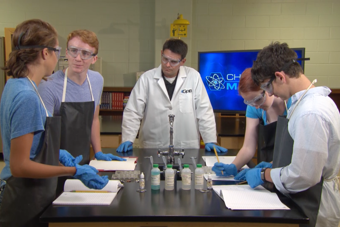 The students perform a lab in this segment about which metals react with each other.