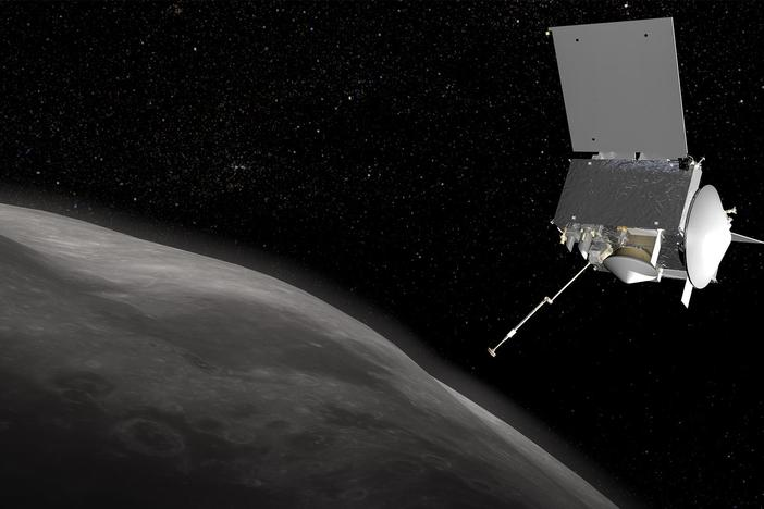 Spacecraft OSIRIS-REx attempts to grab a piece of an asteroid to bring it back to Earth.