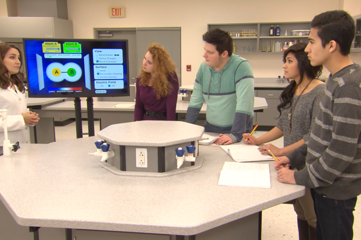The students discuss polar and non-polar bonds in this segment.