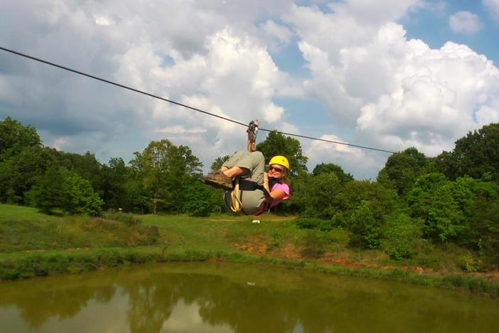 We went zip lining with a focus on physics and environmental education.
