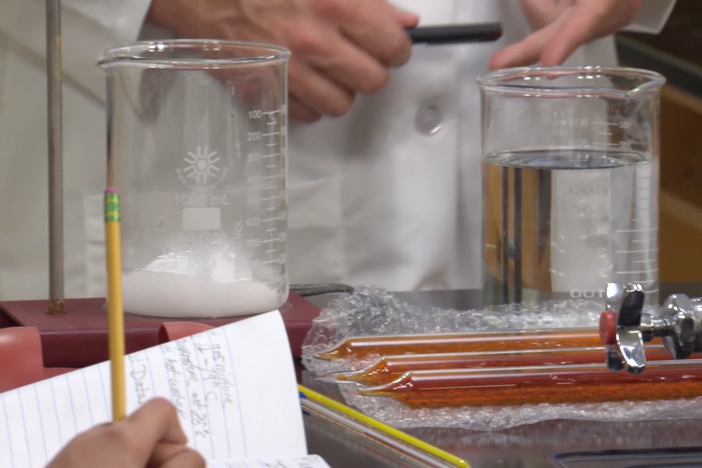 In segment E, our students conduct an experiment to see which gases produces smog.