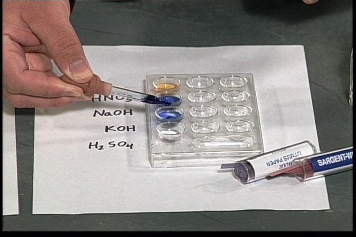 Acid/base indicators are described and used to identify substances as acids or bases.