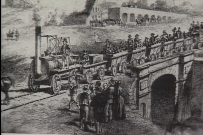 It took the steam powered locomotive to bring about a transportation revolution.