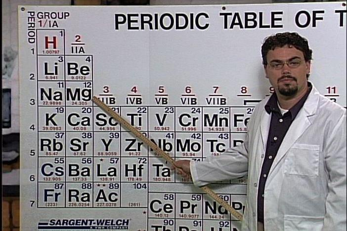 Periods and families in the periodic table are described.