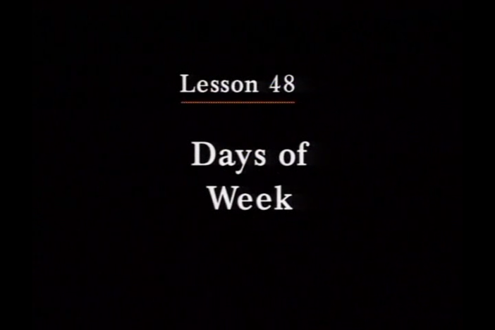 JPN I, Lesson 48. The topic covered is days of the week.