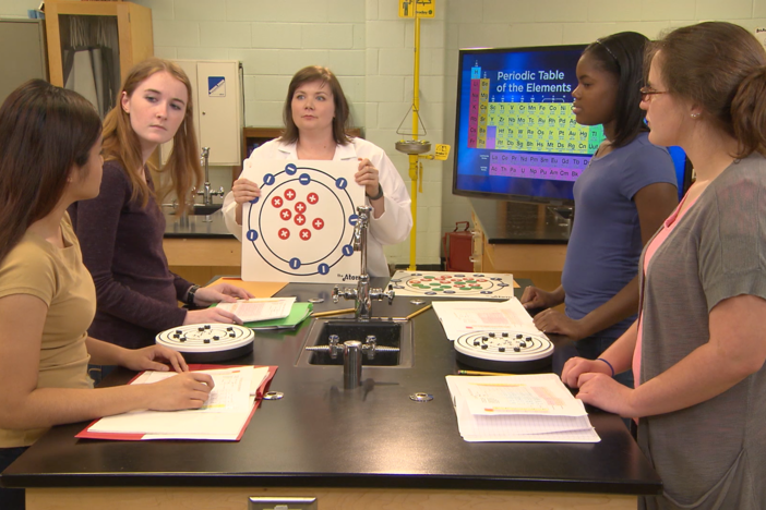 In this segment, the students build models of elements.
