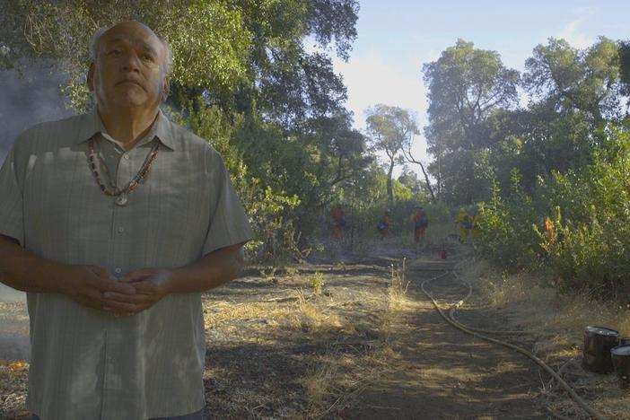 Valentin Lopez, of the Amah Mutsun, uses fire to save his peoples culture.