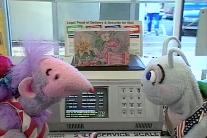 Blossom and Snappy help Digit mail a surprise package to Robbie.
