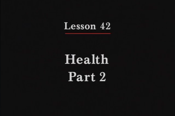 JPN II, Lesson 42. The topic covered is health: describing physical conditions.