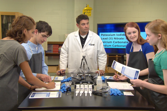 During this segment, the students perform a lab to test and identify four unknown samples.