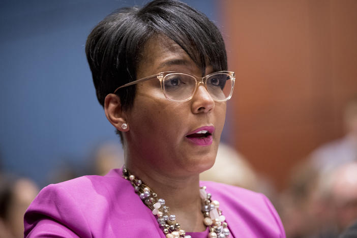 Atlanta Mayor Keisha Lance Bottoms has signed an executive order requiring face coverings in public. She's shown here speaking on Capitol Hill in 2019.