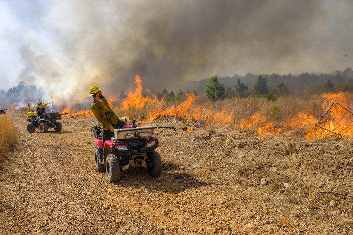 Workers watch the backfires they set with the flamethrowers mounted on their ATVs at Sprewell Bluff during a recent prescribed burn. The land was part of some 10,000 acres of public and private land maintained by fire in the area.