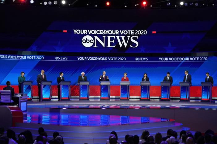 Democratic presidential candidates resume their debate Thursday, Sept. 12, 2019, after a break during a Democratic presidential primary debate hosted by ABC at Texas Southern University in Houston.