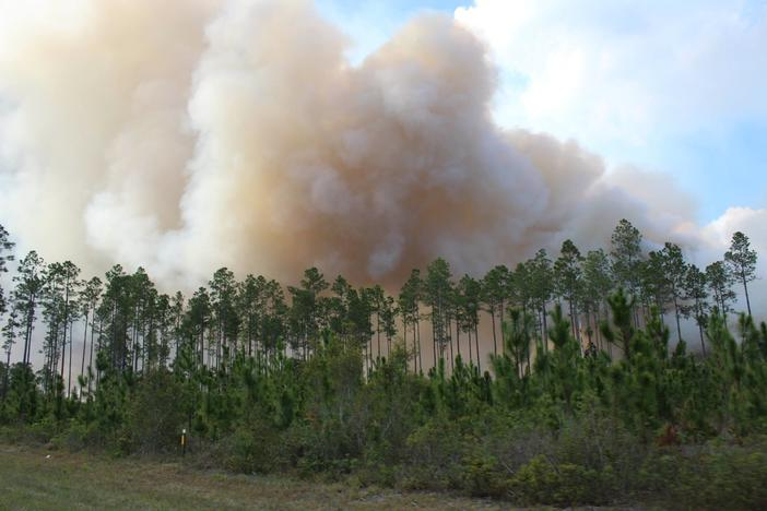 The West Mims Fire continues to burn across 19,000 acres on the Georgia-Florida line.