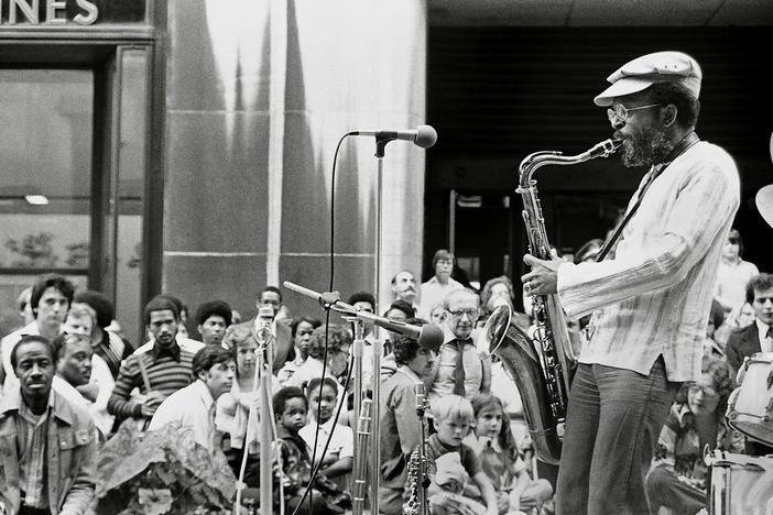 Jimmy Heath performs for an audience at Rockerfeller Center in New York City in 1977.