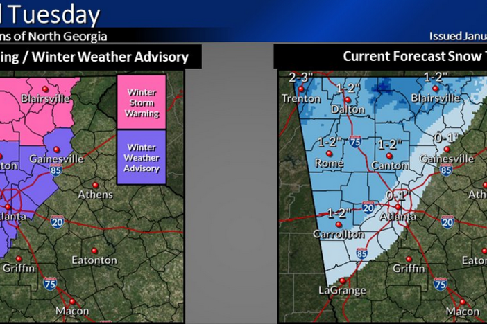 A Winter Storm Warning over far north Georgia and a Winter Weather Advisory over much of north-central Georgia are in effect from 3 a.m. until 7 p.m. Tuesday.