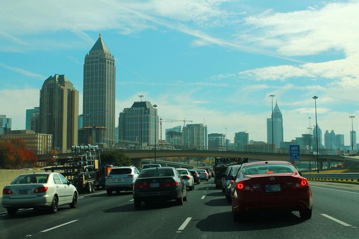 Afternoon traffic on I-75/85 in downtown Atlanta