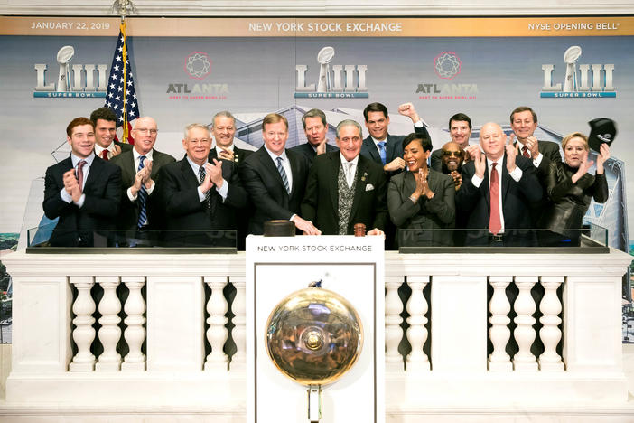 Arthur Blank, Georgia leaders, Roger Goodell and members of the Metro Altanta Chamber ring the opening bell on the New York Stock Exchange on Jan. 22, 2019.