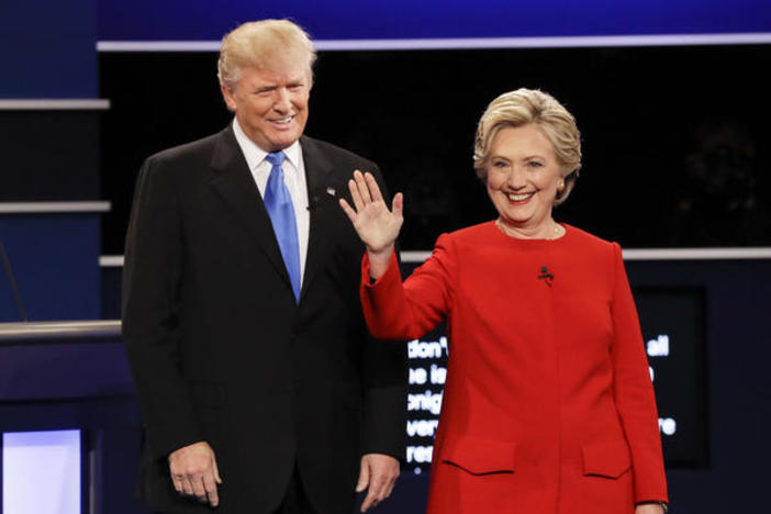 Republican presidential nominee Donald Trump and Democratic presidential nominee Hillary Clinton are introduced at the start of the first presidential debate at Hofstra University in Hempstead, N.Y. Sept. 26, 2016.