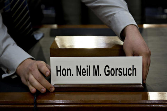 The name placard for Neil Gorsuch, U.S. Supreme Court nominee, is placed on a witness table before a Senate Judiciary Committee confirmation for Gorsuch on Monday.