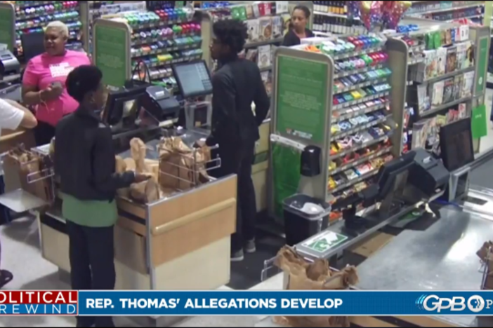 Store surveillance video shows a confrotation between a state lawmaker and Publix shopper.