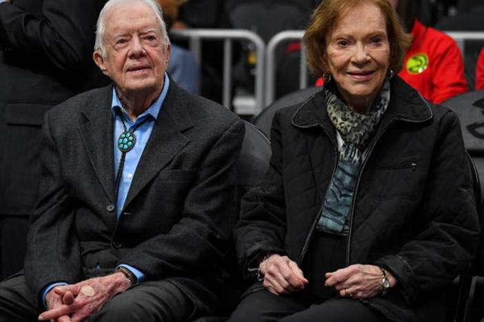 "Former first lady Rosalynn Carter says her husband is doing ""really well"" after a fall."