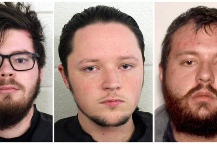 "From left: Luke Austin Lane, Jacob Kaderli and Michael Helterbrand are accused of plotting ""to overthrow the government and murder a Bartow County couple,"" according to police in Floyd County, Ga."