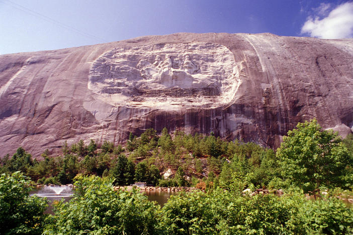 The face of Stone Mountain in Stone Mountain, Georgia, seen here July 1995, depicts three Southern Confederate heroes; Gen. Robert E. Lee, Gen. Stonewall Jackson and Pres. Jefferson Davis.