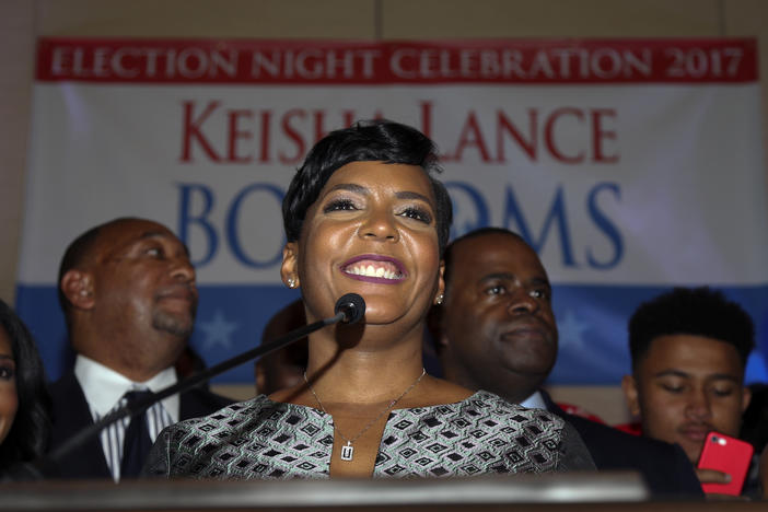 Atlanta mayoral candidate Keisha Lance Bottoms declares victory during an election-night watch party Wednesday, Dec. 6, 2017, in Atlanta.