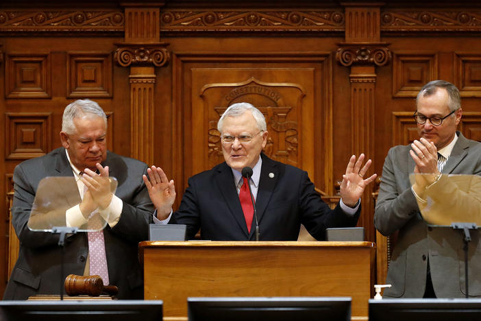 Lt. Gov Casey Cagle (right) flanks Governor Nathan Deal (middle) and House Speaker David Ralston (left)