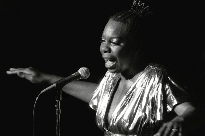 In this June 27, 1985 photo, Nina Simone performs at Avery Fisher Hall in New York.