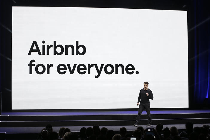 In this Feb. 22, 2018 file photo, Airbnb co-founder and CEO Brian Chesky speaks during an event in San Francisco.