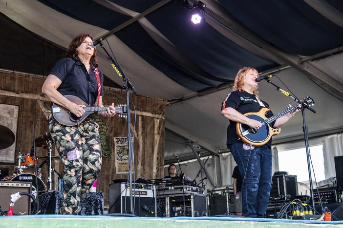 Amy Ray, left, and Emily Saliers of Indigo Girls perform at thNew Orleans Jazz and Heritage Festival in April 2019. Their recently streamed concert drew around 7,000 viewers on Facebook and Instagram live.
