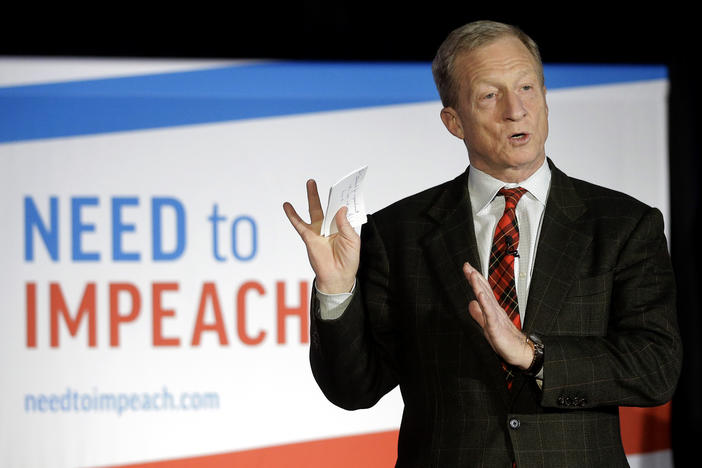 "Democratic activist Tom Steyer speaks during a ""Need to Impeach"" town hall event in Agawam, Mass. There has been rising disagreement among congressional Democrats over whether to pursue impeachment of President Donald Trump."