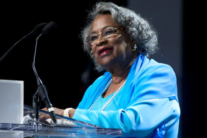 Civil rights activist Juanita Abernathy speaks after receiving the George Thomas 'Mickey' Leland Award at the Congressional Black Caucus Foundation's 45th Annual Legislative Conference Phoenix Awards Dinner at the Walter E. Washington Convention Center.