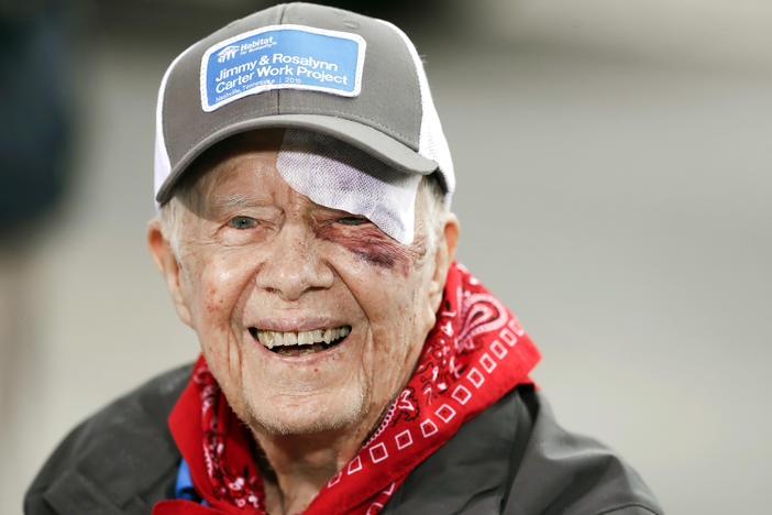 Former President Jimmy Carter answers questions during a news conference at a Habitat for Humanity project Monday, Oct. 7, 2019, in Nashville, Tenn. Carter fell at home on Sunday, requiring over a dozen stitches.