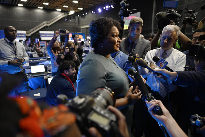 Former Democratic candidate for Georgia Governor, Stacey Abrams speaks during an interview ahead of a Democratic presidential primary debate, Wednesday, Nov. 20, 2019, in Atlanta.