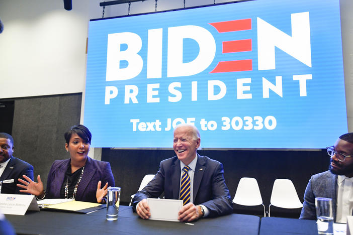 Former U.S. Vice President and 2020 Democratic presidential candidate Joe Biden reacts as he is introduced by Atlanta mayor Keisha Lance Bottoms during an assembly of Southern black mayors Thursday, Nov. 21, 2019 in Atlanta.