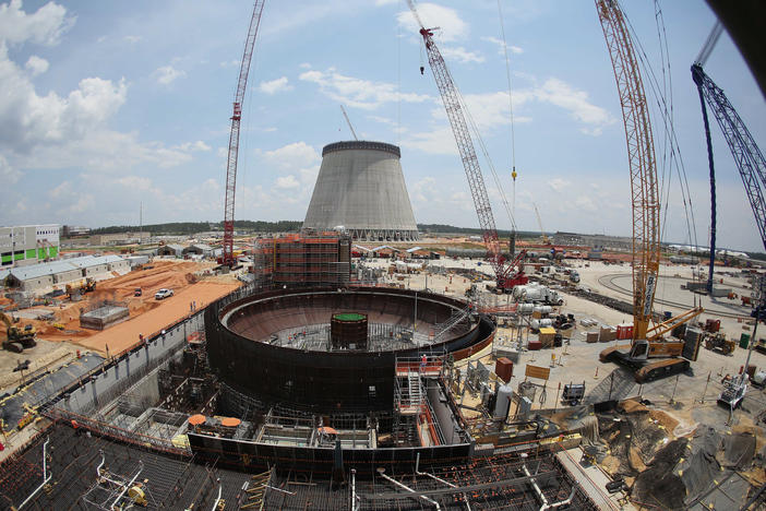 This June 13, 2014, file photo, shows construction on a new nuclear reactor at Plant Vogtle power plant in Waynesboro, Ga.