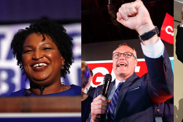 From left to right, Democratic candidate for Gov. Stacey Abrams, Republican candidate for Gov. Casey Cagle and Republican candidate for gov. and current Secretary of State Brian Kemp, all speaking at victory parties Tuesday, May 22, 2018.
