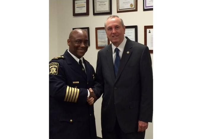 Clayton County Sheriff Victor Hill (pictured left) is being sued by the SCHR and ACLU of Georgia for not disclosing documents about COVID-19 in the county jail.