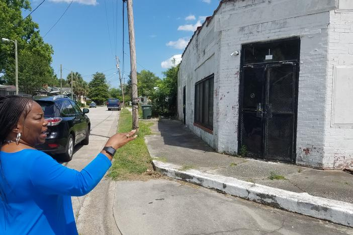 Marsha Buford points out the former site of a neighborhood grocery in West Savannah. Today, the closest grocery stores are more than two and a half miles away.