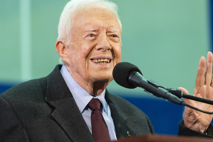 Former President Jimmy Carter speaks to students during an annual Carter Town Hall held at Emory University in Atlanta in September, 2019.
